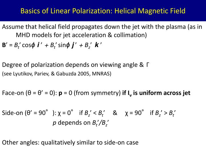 Basics of Linear Polarization: Helical Magnetic Field