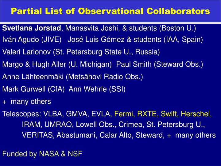 Partial List of Observational Collaborators