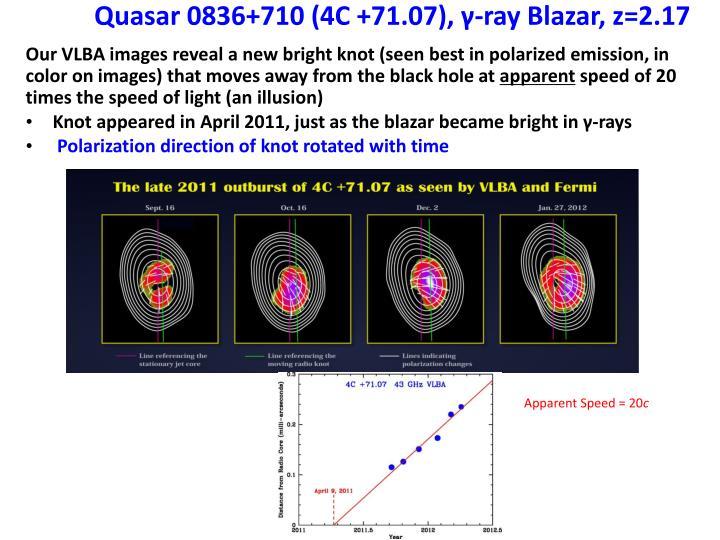 Quasar 0836+710 (4C +71.07), γ-ray Blazar, z=2.17