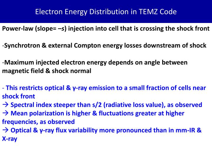 Electron Energy Distribution in TEMZ Code