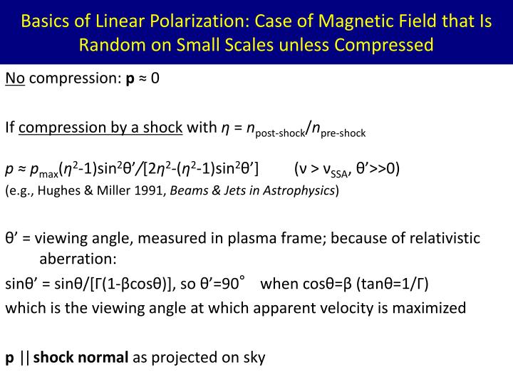 Basics of Linear Polarization: Case of Magnetic Field that Is Random on Small Scales unless Compressed