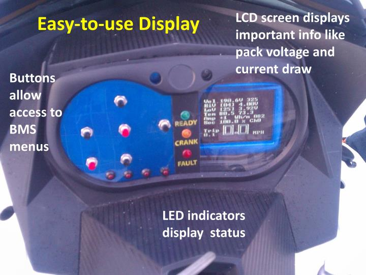 LCD screen displays important info like pack voltage and current draw