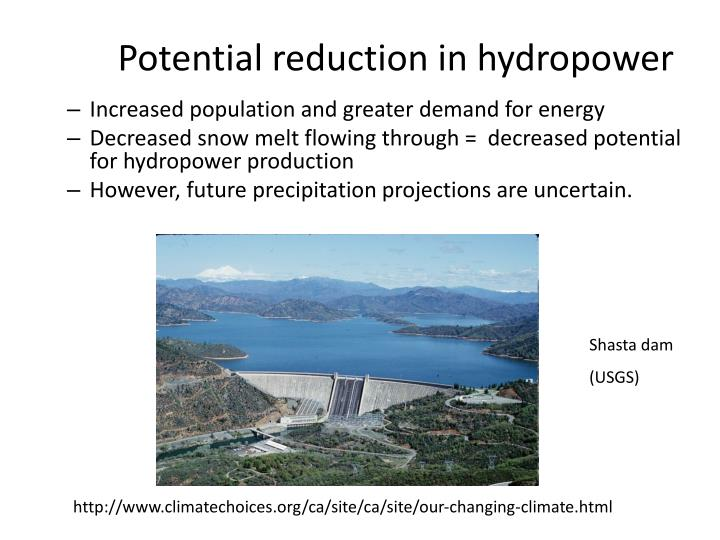 Potential reduction in hydropower