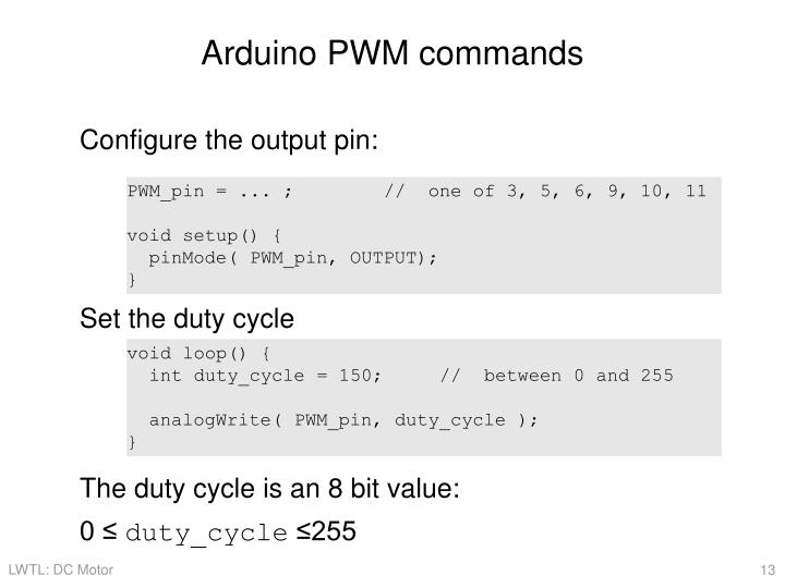Arduino PWM commands