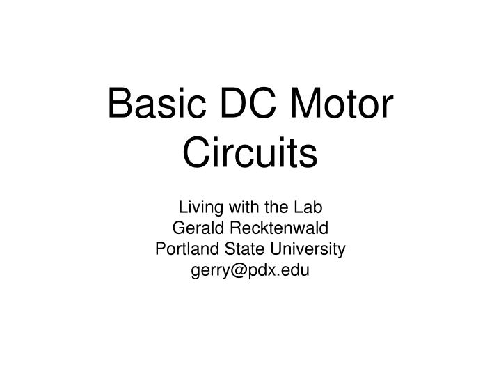 Basic dc motor circuits