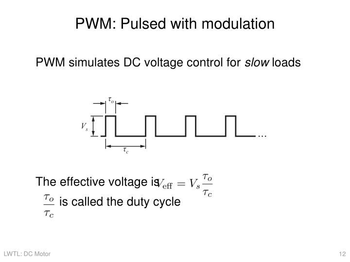 PWM: Pulsed with modulation