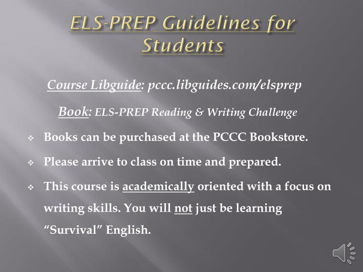 ELS-PREP Guidelines for