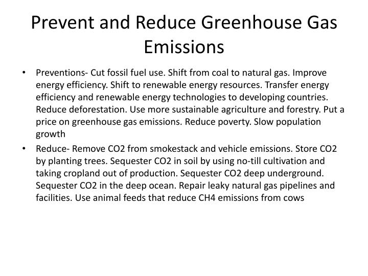 Prevent and Reduce Greenhouse Gas Emissions