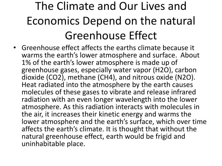 The Climate and Our Lives and Economics Depend on the natural Greenhouse Effect