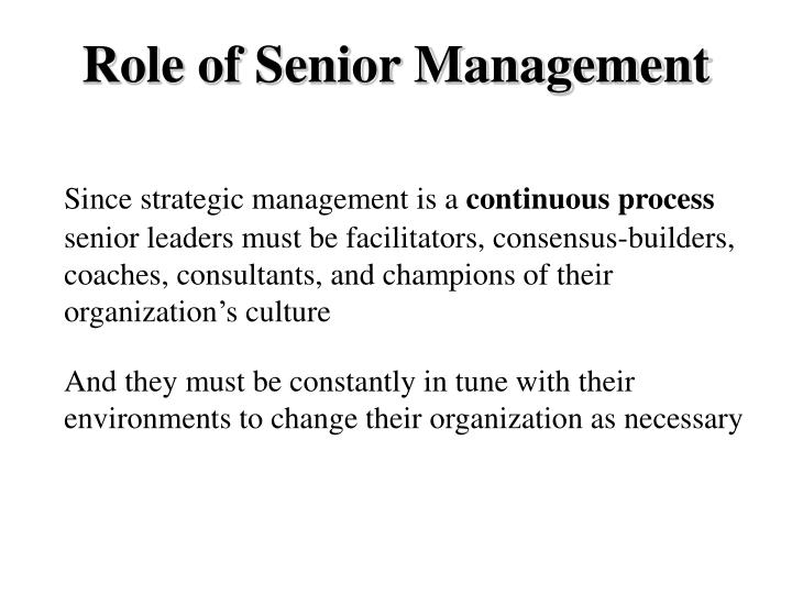 Role of Senior Management