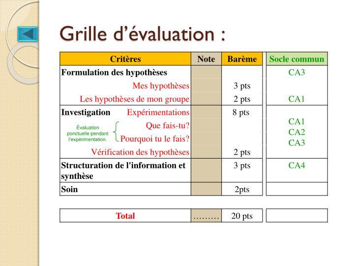 Grille d'évaluation :