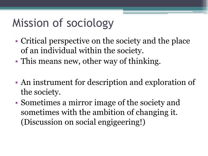 Mission of sociology