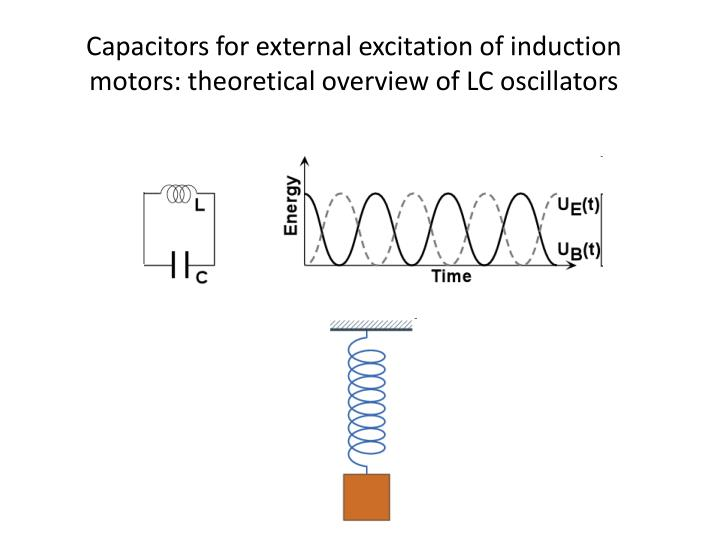 Capacitors for external excitation of induction motors: theoretical overview of LC oscillators