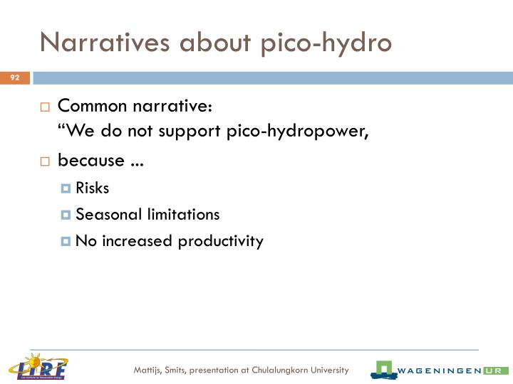 Narratives about pico-hydro