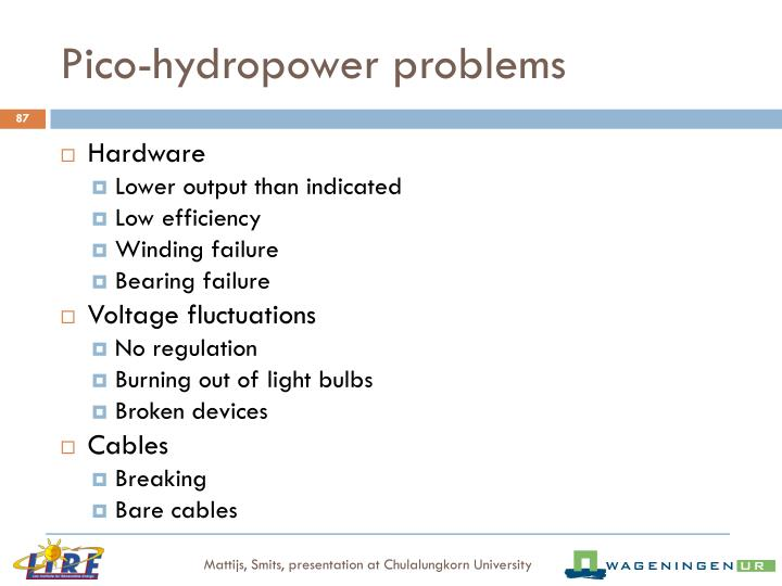 Pico-hydropower problems