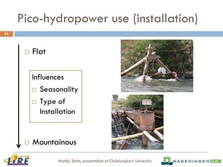 Pico-hydropower use (installation)