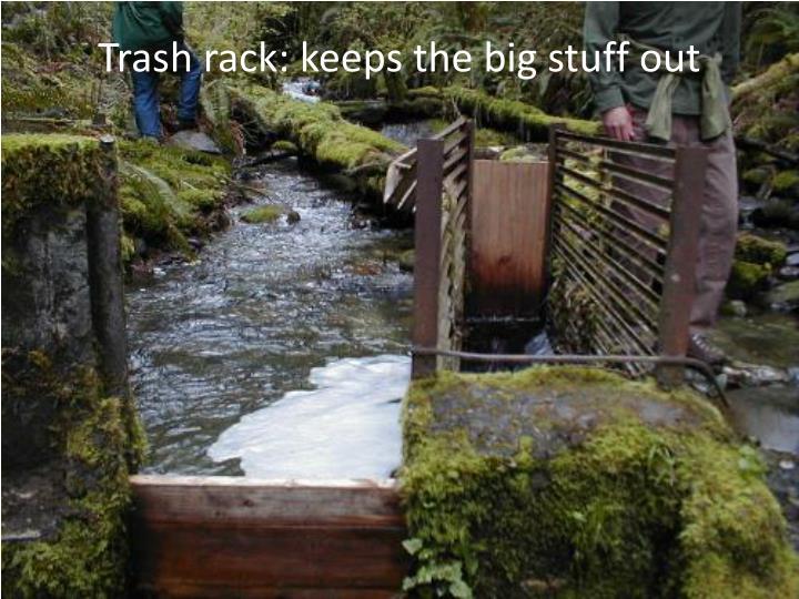 Trash rack: keeps the big stuff out
