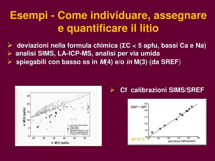 Esempi - Come individuare, assegnare  e quantificare il litio