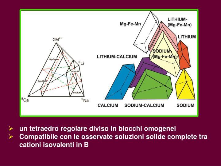 un tetraedro regolare diviso in blocchi omogenei