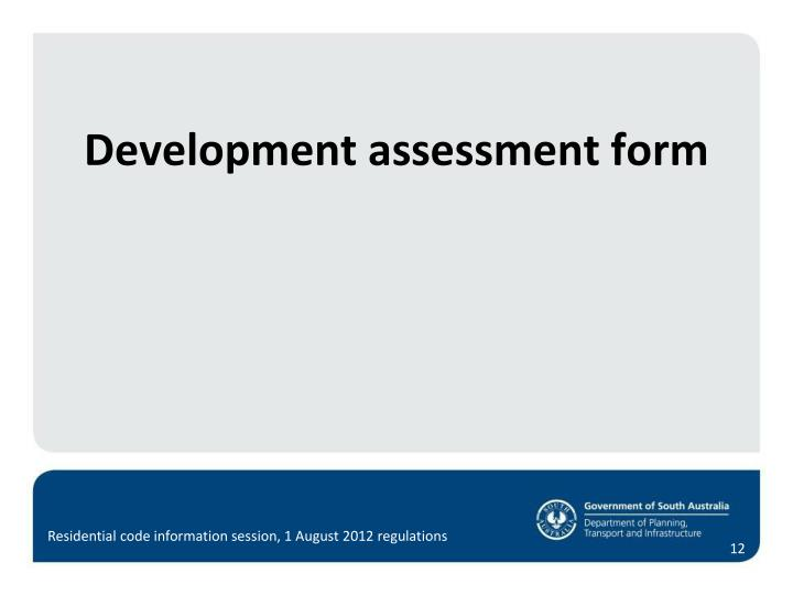 Development assessment form