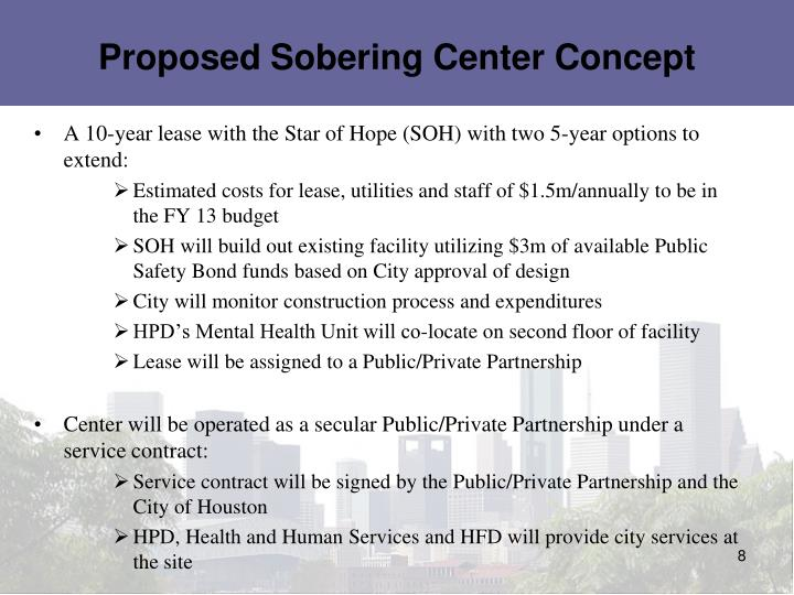 Proposed Sobering Center Concept