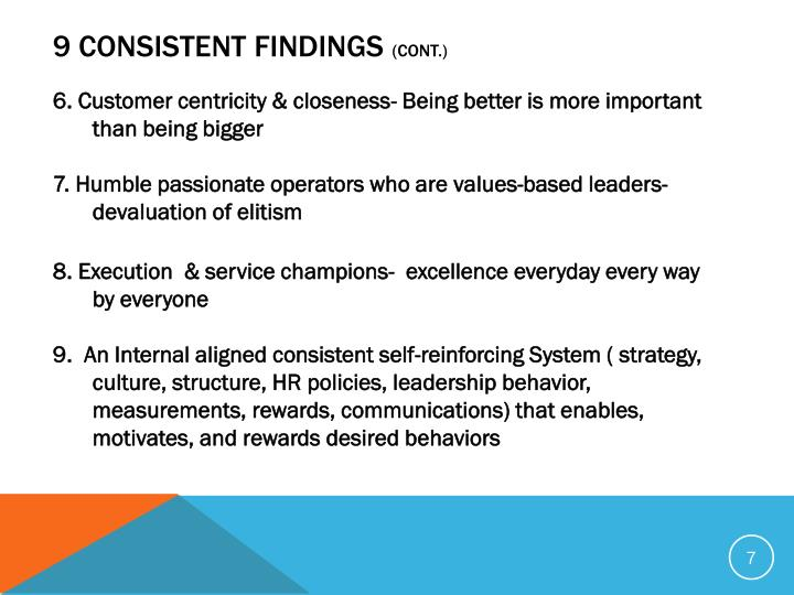 9 Consistent Findings