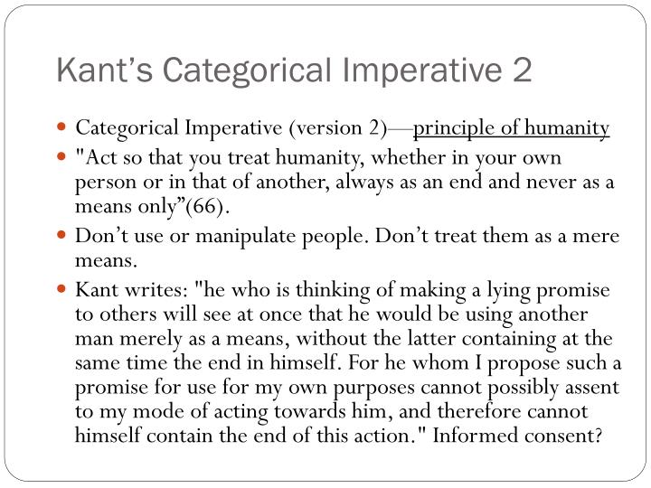 kants categorical imperative essay In order to evaluate one's actions whether they are moral or not, we use many moral dilemmas one of them is kant's categorical imperative this essay presents kant's project of categorical imperative.