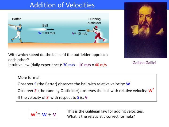 Addition of Velocities                         .