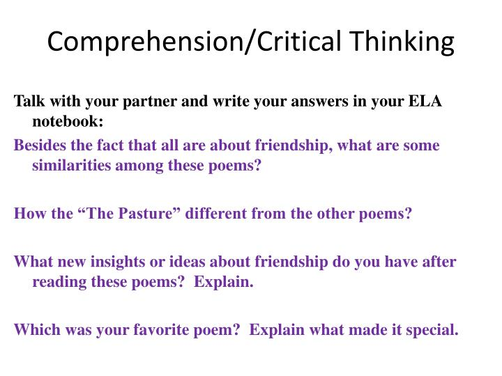 Comprehension/Critical Thinking