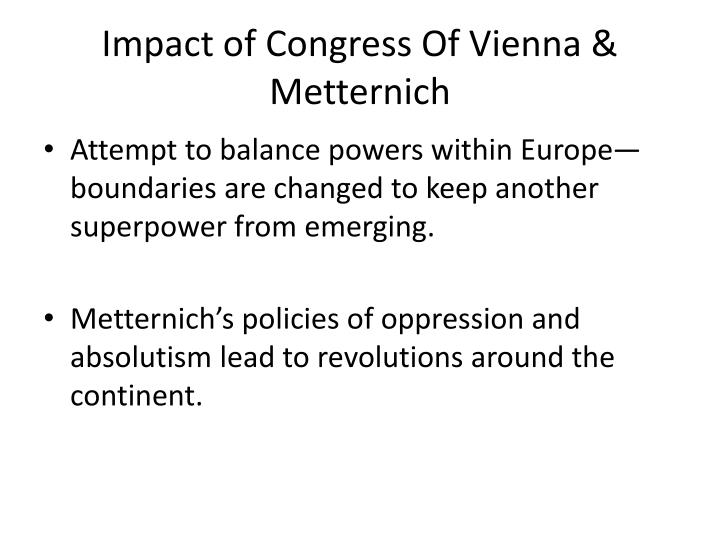 Impact of Congress Of Vienna & Metternich