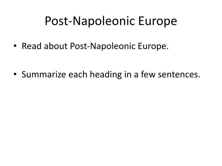 Post-Napoleonic Europe
