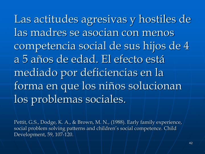 Las actitudes agresivas y hostiles de las madres se asocian con menos competencia social de sus hijos de 4 a 5 años de edad. El efecto está mediado por deficiencias en la forma en que los niños solucionan los problemas sociales.