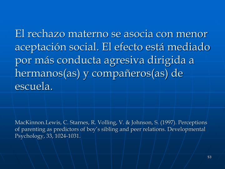 El rechazo materno se asocia con menor aceptación social. El efecto está mediado por más conducta agresiva dirigida a hermanos(as) y compañeros(as) de escuela.