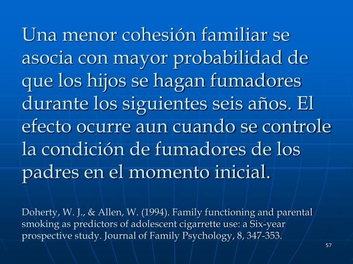 Una menor cohesión familiar se asocia con mayor probabilidad de que los hijos se hagan fumadores durante los siguientes seis años. El efecto ocurre aun cuando se controle la condición de fumadores de los padres en el momento inicial.