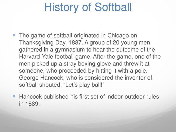 History of Softball