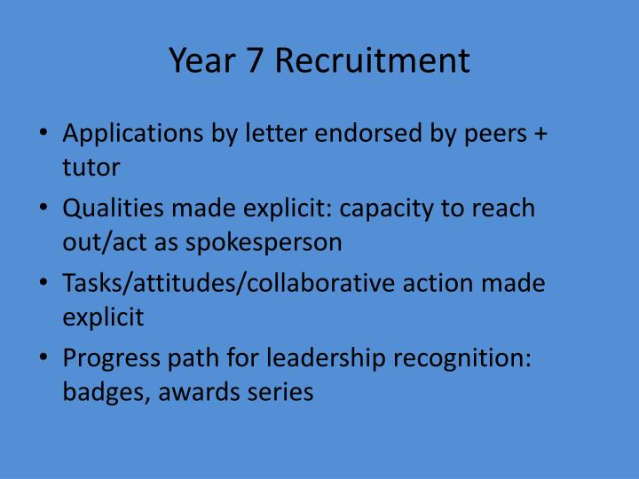 Year 7 recruitment