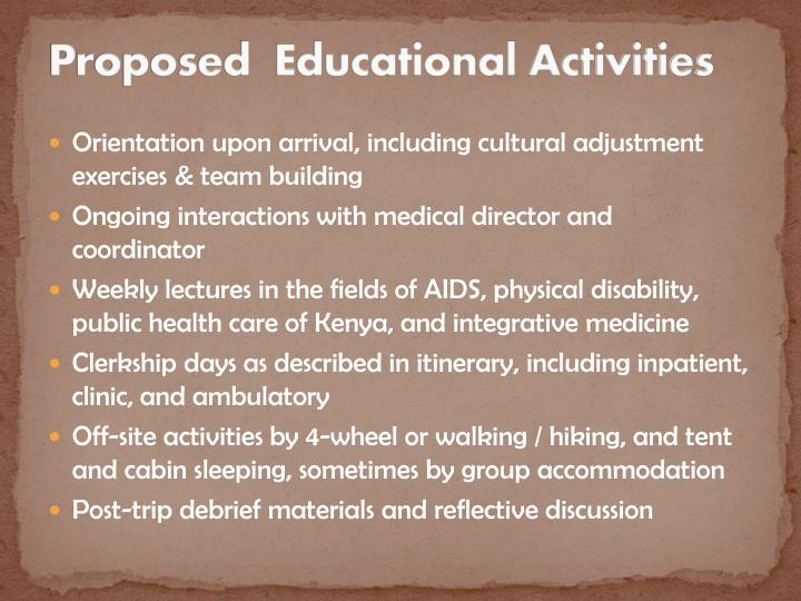 Proposed educational activities
