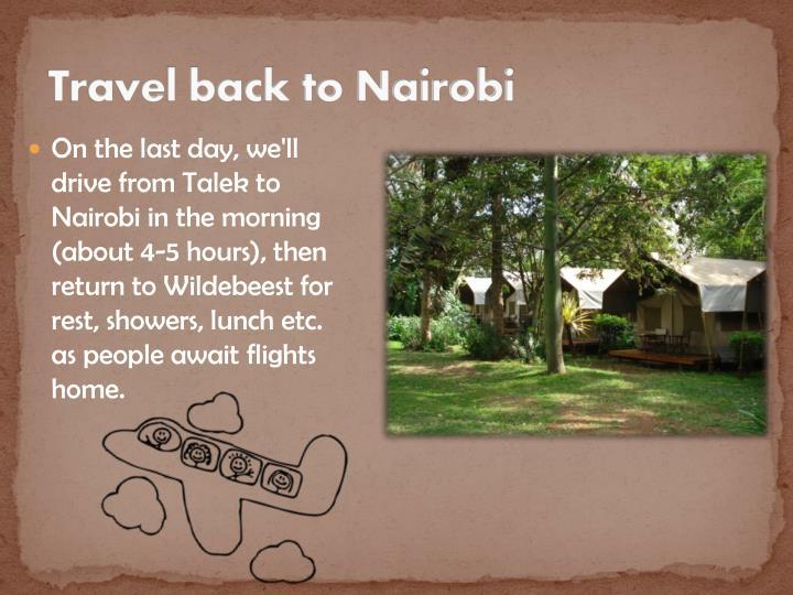 Travel back to Nairobi