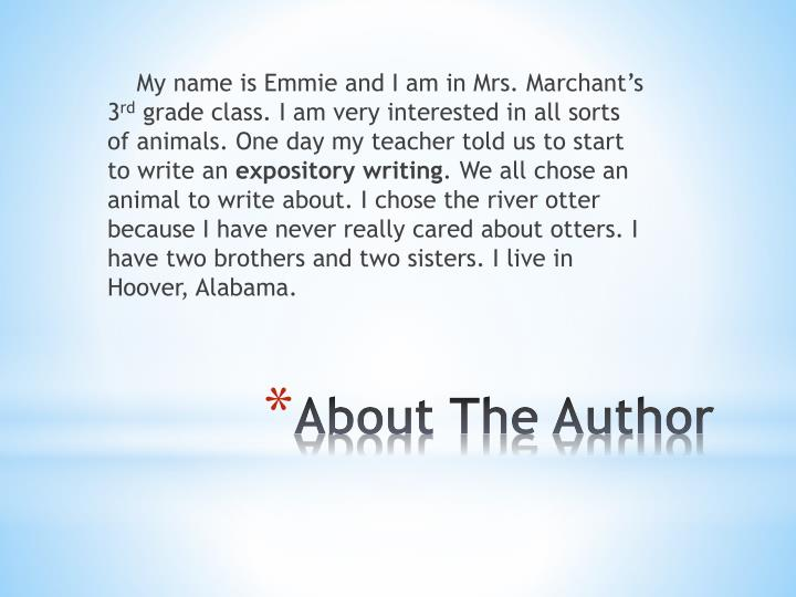 My name is Emmie and I am in Mrs. Marchant's 3