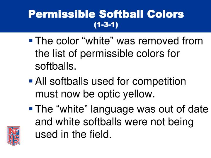 Permissible softball colors 1 3 1