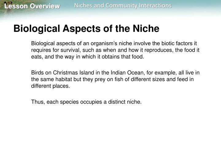 Biological Aspects of the Niche