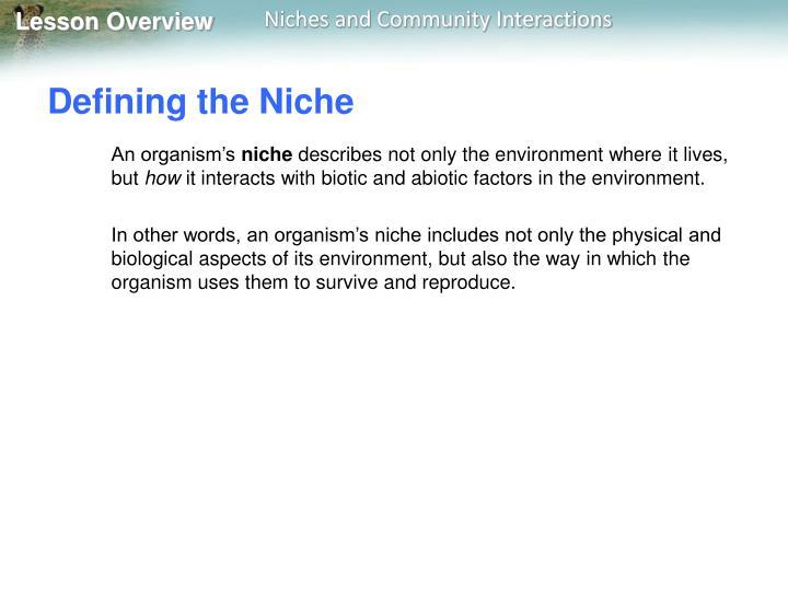 Defining the Niche