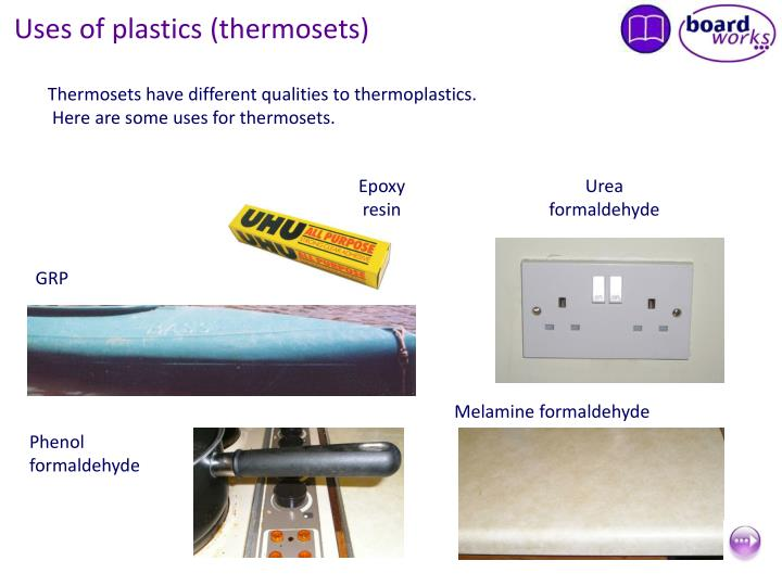 Uses of plastics (thermosets)