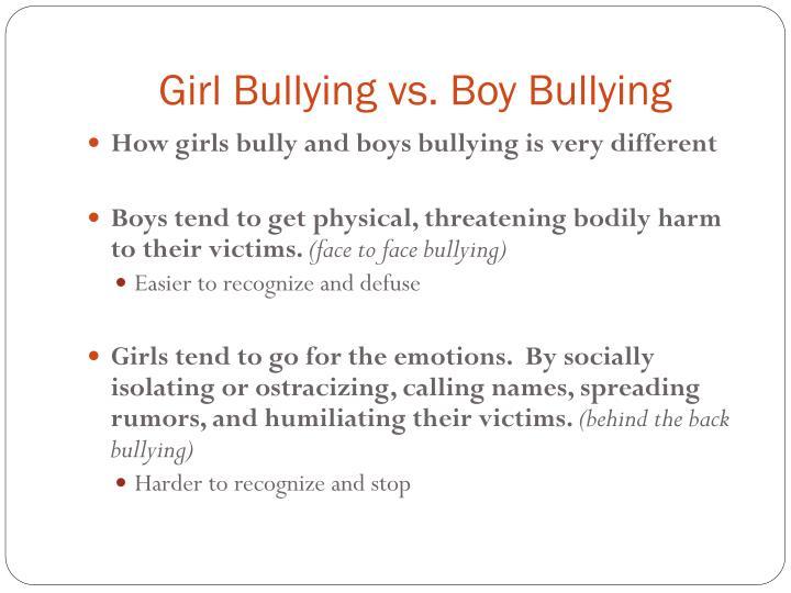 Girl Bullying vs. Boy Bullying