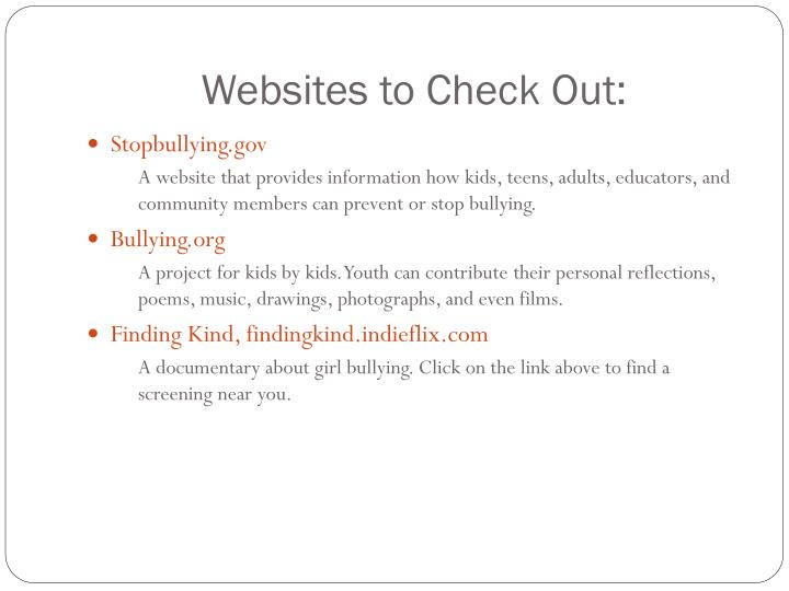 Websites to Check Out: