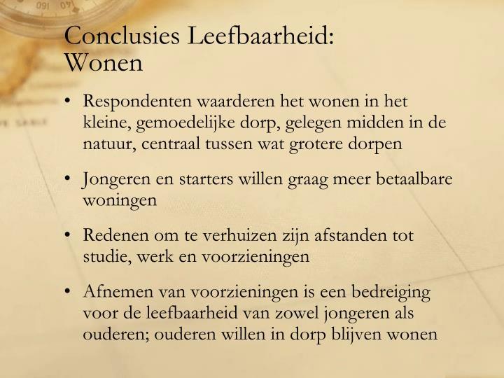 Conclusies Leefbaarheid: