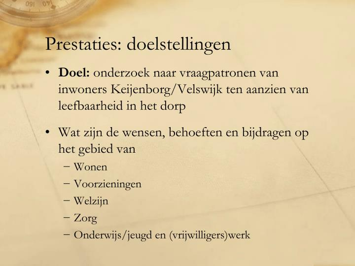 Prestaties doelstellingen