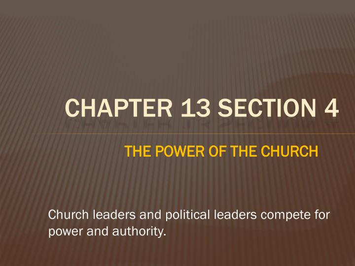 THE POWER OF THE CHURCH