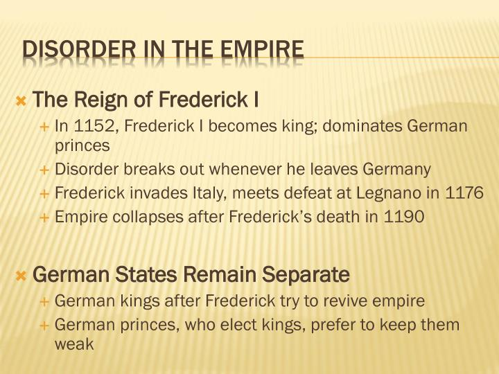 The Reign of Frederick I