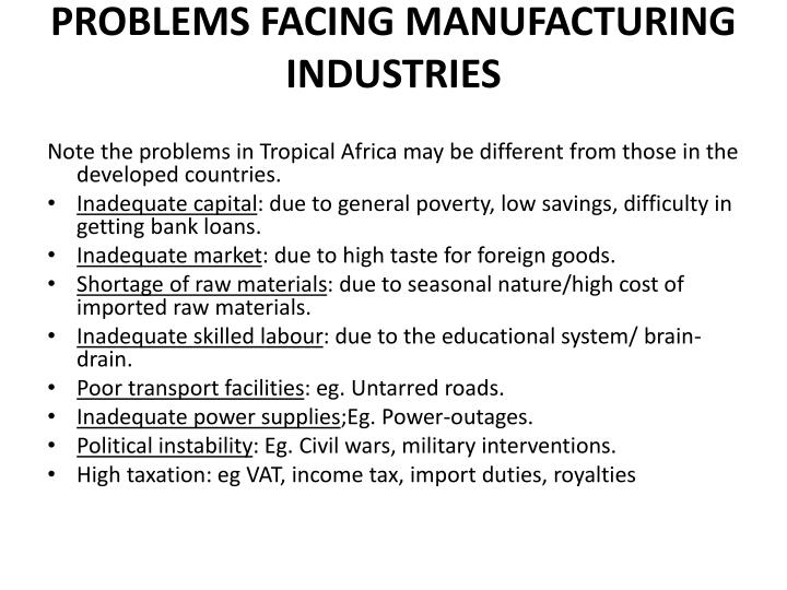 PROBLEMS FACING MANUFACTURING INDUSTRIES